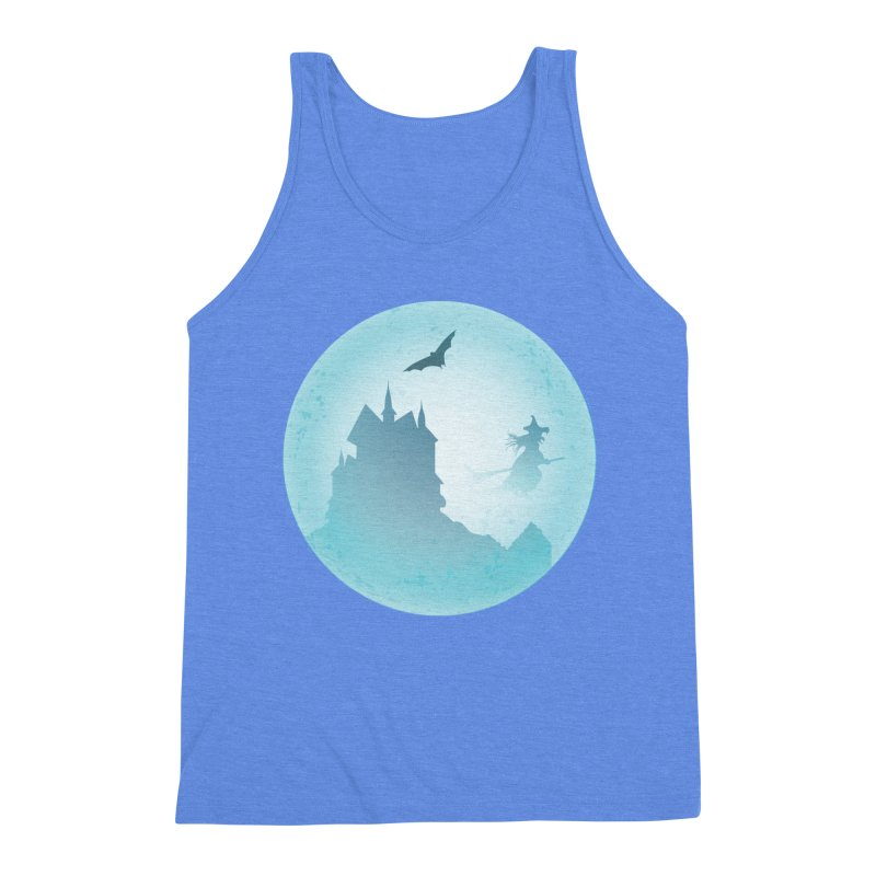 Spooky castly with bat and witch sillouetted by moon in blue. Men's Triblend Tank by Make a statement, laugh, enjoy.