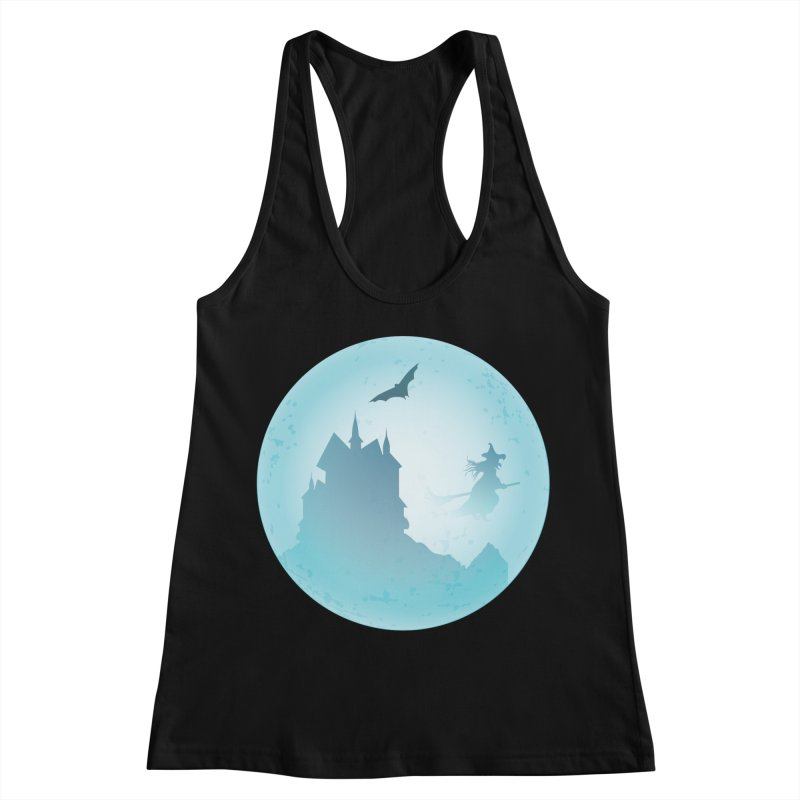 Spooky castly with bat and witch sillouetted by moon in blue. Women's Racerback Tank by Make a statement, laugh, enjoy.