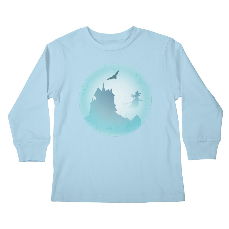 Spooky castly with bat and witch sillouetted by moon in blue. Kids Longsleeve T-Shirt by Make a statement, laugh, enjoy.