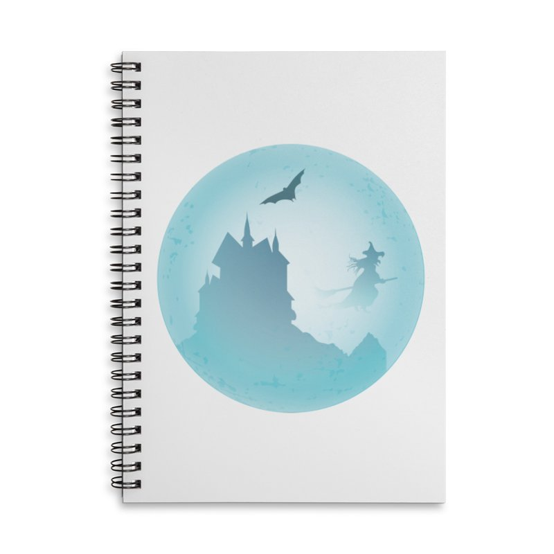 Spooky castly with bat and witch sillouetted by moon in blue. Accessories Lined Spiral Notebook by Make a statement, laugh, enjoy.