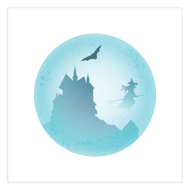 Spooky castly with bat and witch sillouetted by moon in blue. Home Fine Art Print by Make a statement, laugh, enjoy.