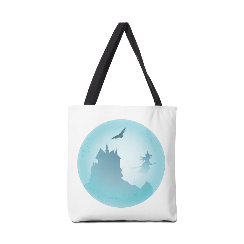 Spooky castly with bat and witch sillouetted by moon in blue. Accessories Tote Bag Bag by Make a statement, laugh, enjoy.