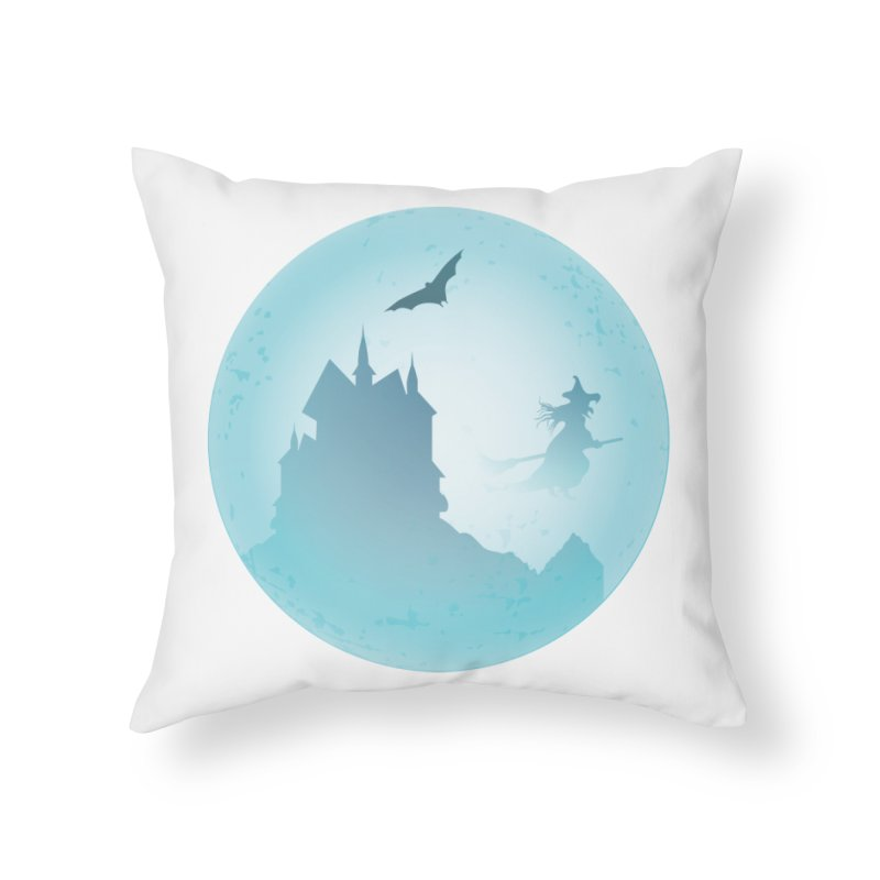 Spooky castly with bat and witch sillouetted by moon in blue. Home Throw Pillow by Sporkshirts's tshirt gamer movie and design shop.