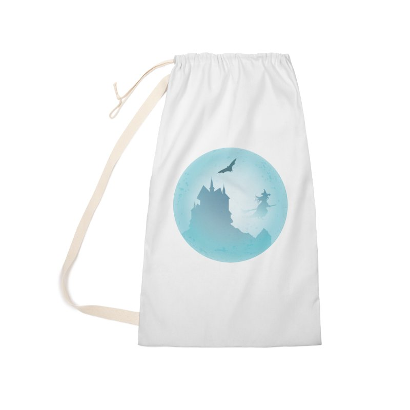 Spooky castly with bat and witch sillouetted by moon in blue. Accessories Laundry Bag Bag by Make a statement, laugh, enjoy.