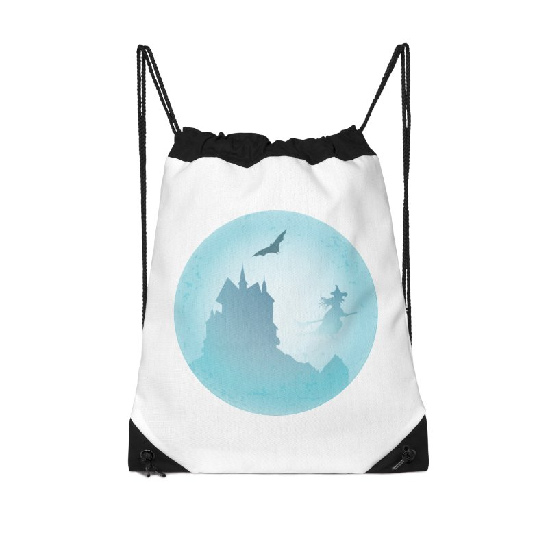 Spooky castly with bat and witch sillouetted by moon in blue. Accessories Drawstring Bag Bag by Make a statement, laugh, enjoy.