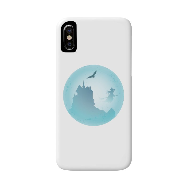 Spooky castly with bat and witch sillouetted by moon in blue. Accessories Phone Case by Sporkshirts's tshirt gamer movie and design shop.