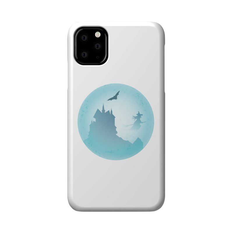 Spooky castly with bat and witch sillouetted by moon in blue. Accessories Phone Case by Make a statement, laugh, enjoy.