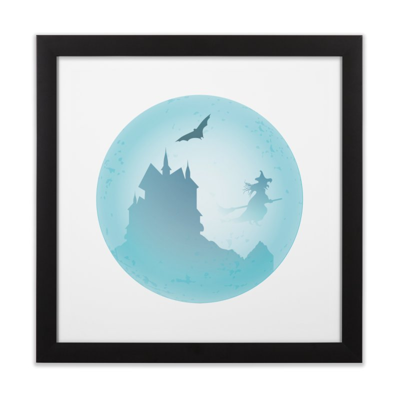 Spooky castly with bat and witch sillouetted by moon in blue. Home Framed Fine Art Print by Make a statement, laugh, enjoy.