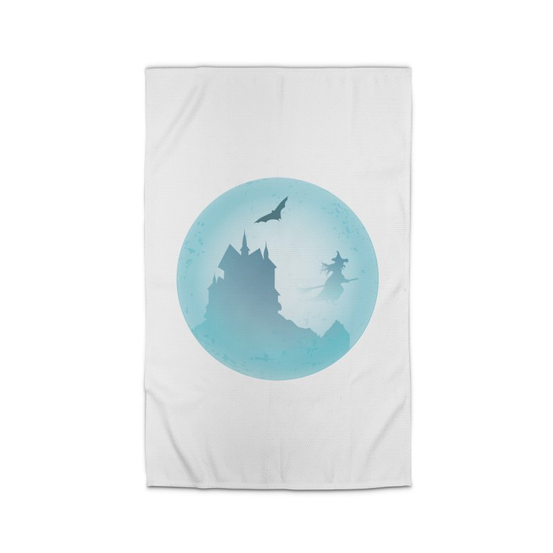 Spooky castly with bat and witch sillouetted by moon in blue. Home Rug by Sporkshirts's tshirt gamer movie and design shop.