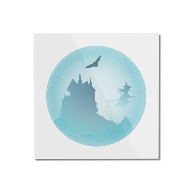 Spooky castly with bat and witch sillouetted by moon in blue. Home Mounted Acrylic Print by Make a statement, laugh, enjoy.