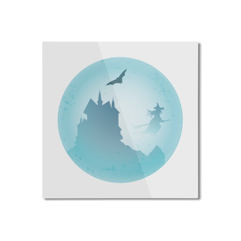 Spooky castly with bat and witch sillouetted by moon in blue. Home Mounted Aluminum Print by Sporkshirts's tshirt gamer movie and design shop.