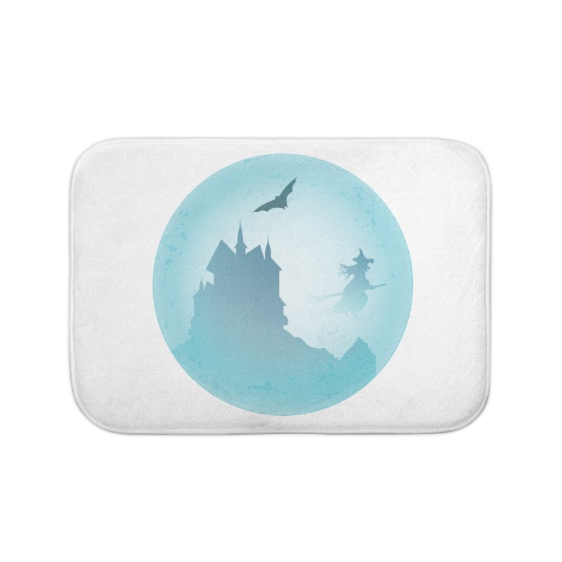 Spooky castly with bat and witch sillouetted by moon in blue. Home Bath Mat by Sporkshirts's tshirt gamer movie and design shop.