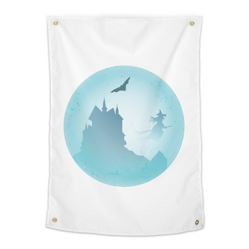 Spooky castly with bat and witch sillouetted by moon in blue. Home Tapestry by Make a statement, laugh, enjoy.