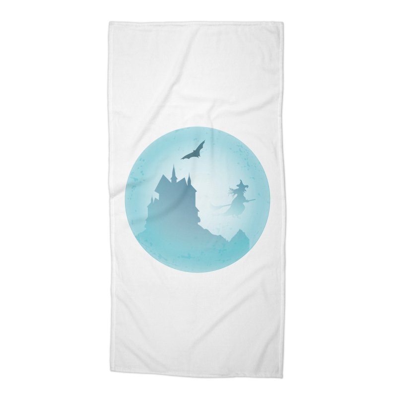Spooky castly with bat and witch sillouetted by moon in blue. Accessories Beach Towel by Sporkshirts's tshirt gamer movie and design shop.