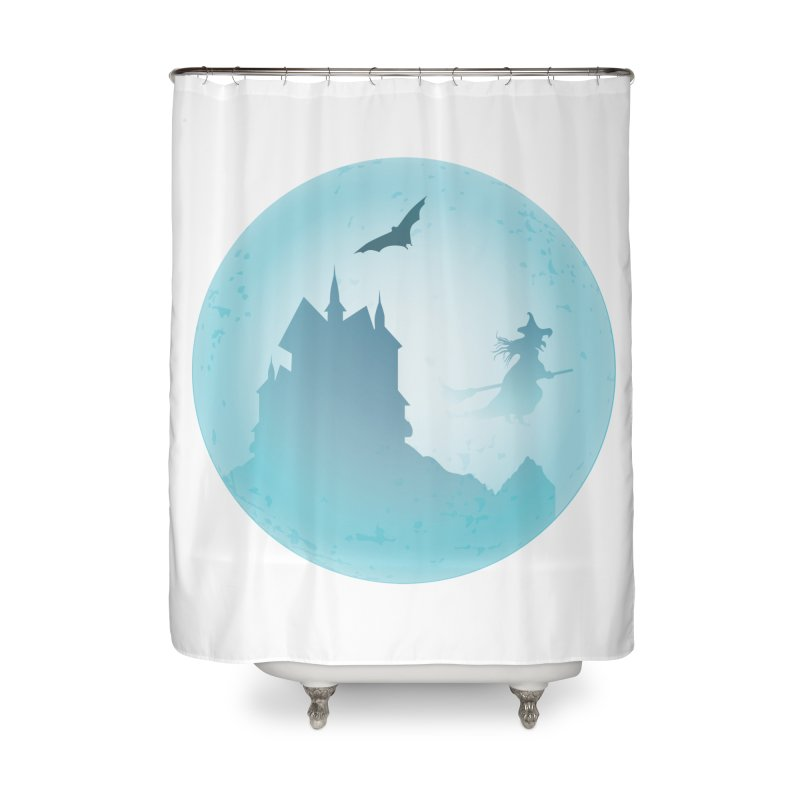 Spooky castly with bat and witch sillouetted by moon in blue. Home Shower Curtain by Sporkshirts's tshirt gamer movie and design shop.