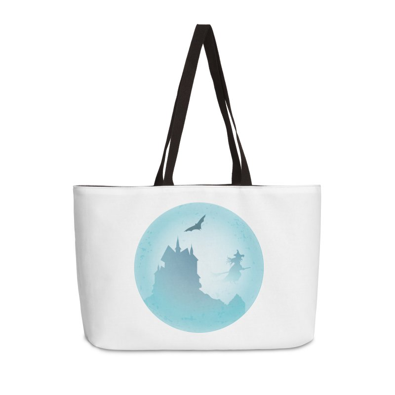 Spooky castly with bat and witch sillouetted by moon in blue. Accessories Weekender Bag Bag by Make a statement, laugh, enjoy.