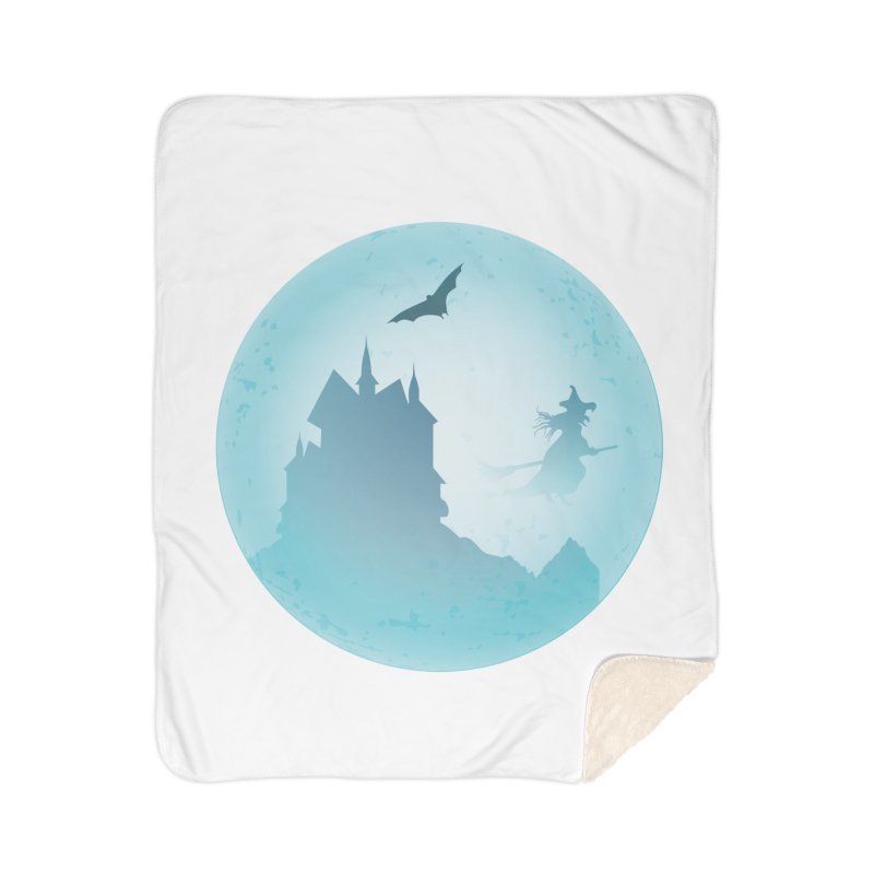 Spooky castly with bat and witch sillouetted by moon in blue. Home Sherpa Blanket Blanket by Sporkshirts's tshirt gamer movie and design shop.