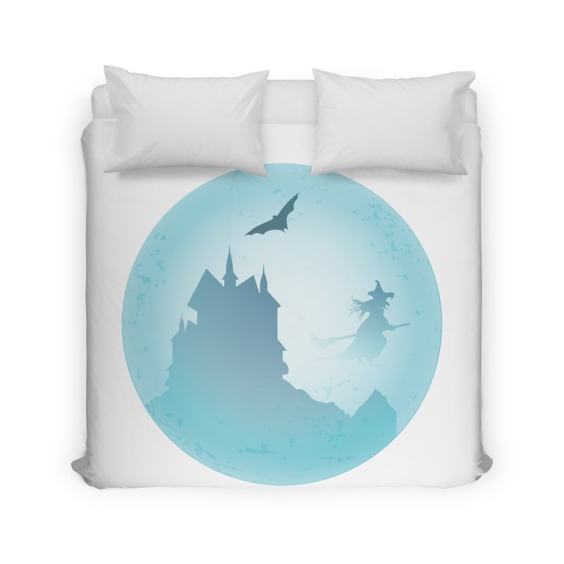 Spooky castly with bat and witch sillouetted by moon in blue. Home Duvet by Make a statement, laugh, enjoy.