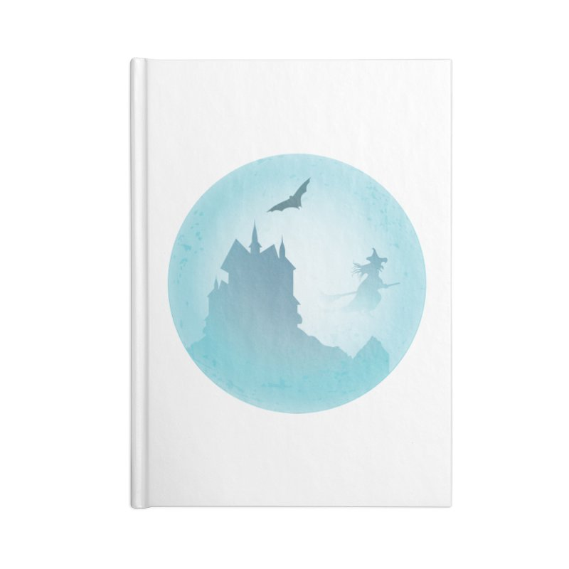 Spooky castly with bat and witch sillouetted by moon in blue. Accessories Blank Journal Notebook by Make a statement, laugh, enjoy.