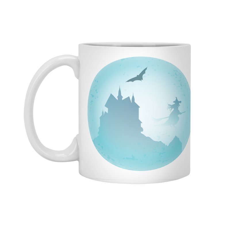 Spooky castly with bat and witch sillouetted by moon in blue. Accessories Standard Mug by Make a statement, laugh, enjoy.