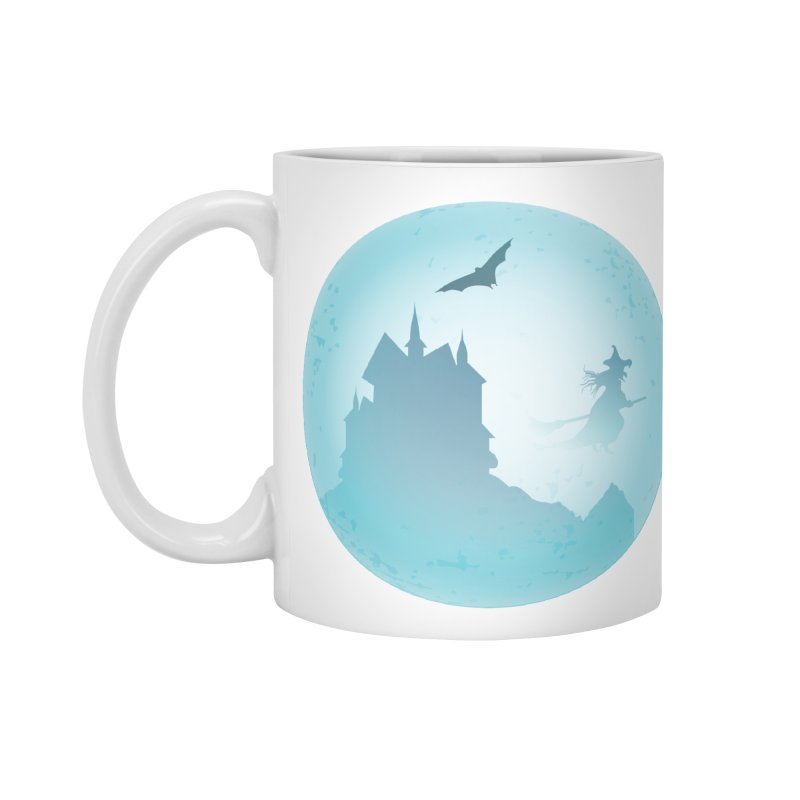 Spooky castly with bat and witch sillouetted by moon in blue. Accessories Standard Mug by Sporkshirts's tshirt gamer movie and design shop.