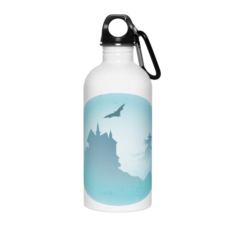 Spooky castly with bat and witch sillouetted by moon in blue. Accessories Water Bottle by Make a statement, laugh, enjoy.