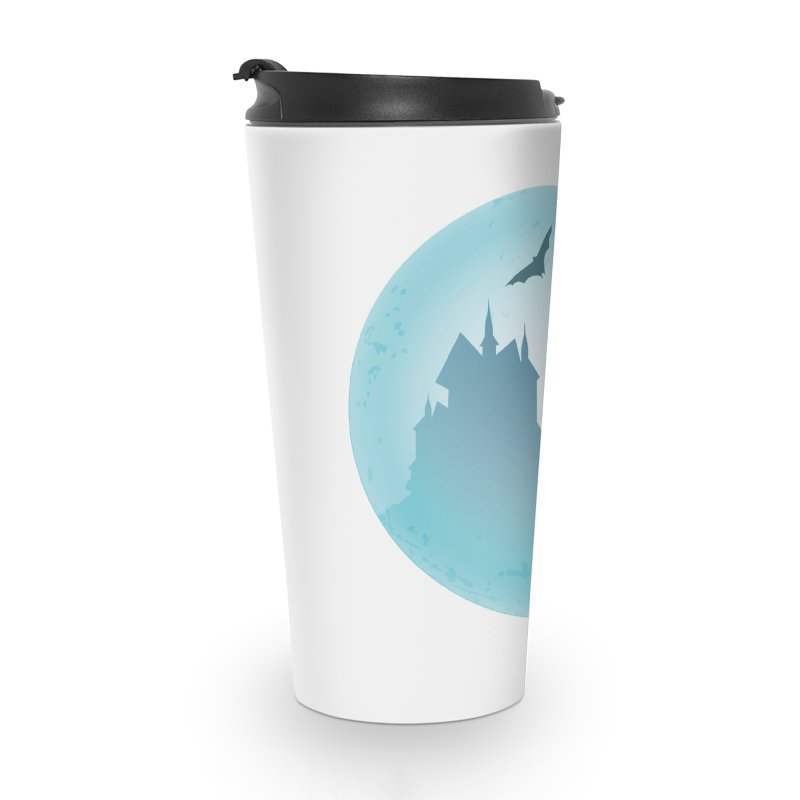 Spooky castly with bat and witch sillouetted by moon in blue. Accessories Travel Mug by Make a statement, laugh, enjoy.