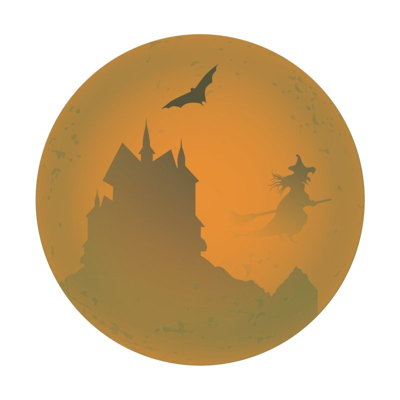 Dark Castle with flying witch, bat, in front of orange moon. Home Bath Mat by Make a statement, laugh, enjoy.