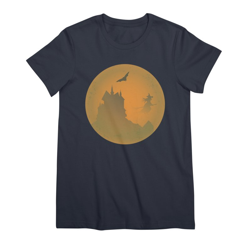 Dark Castle with flying witch, bat, in front of orange moon. Women's Premium T-Shirt by Make a statement, laugh, enjoy.