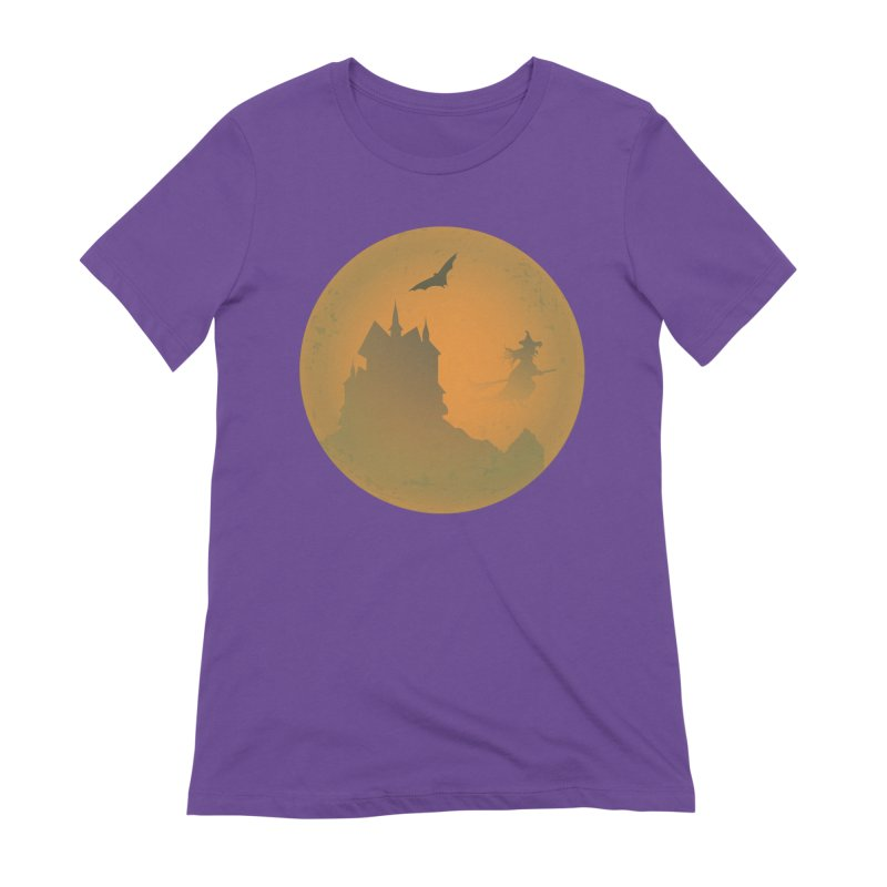 Dark Castle with flying witch, bat, in front of orange moon. Women's Extra Soft T-Shirt by Make a statement, laugh, enjoy.