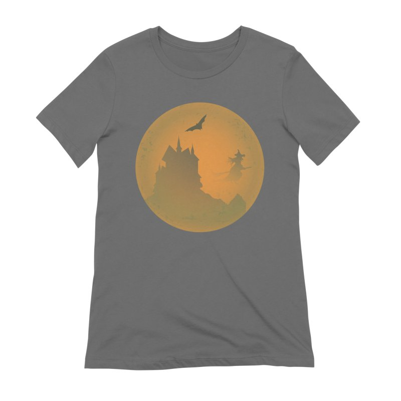 Dark Castle with flying witch, bat, in front of orange moon. Women's T-Shirt by Make a statement, laugh, enjoy.