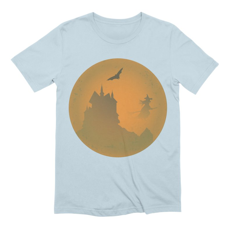 Dark Castle with flying witch, bat, in front of orange moon. Men's Extra Soft T-Shirt by Make a statement, laugh, enjoy.