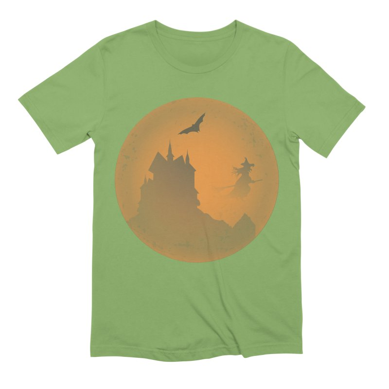 Dark Castle with flying witch, bat, in front of orange moon. Men's Extra Soft T-Shirt by Sporkshirts's tshirt gamer movie and design shop.