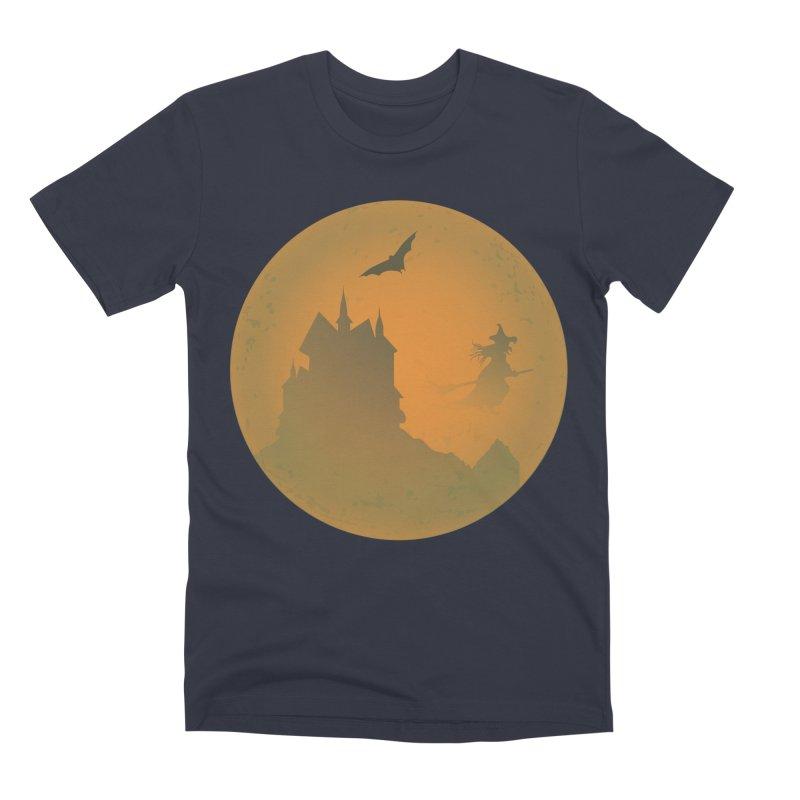 Dark Castle with flying witch, bat, in front of orange moon. Men's Premium T-Shirt by Sporkshirts's tshirt gamer movie and design shop.