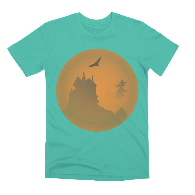 Dark Castle with flying witch, bat, in front of orange moon. Men's Premium T-Shirt by Make a statement, laugh, enjoy.