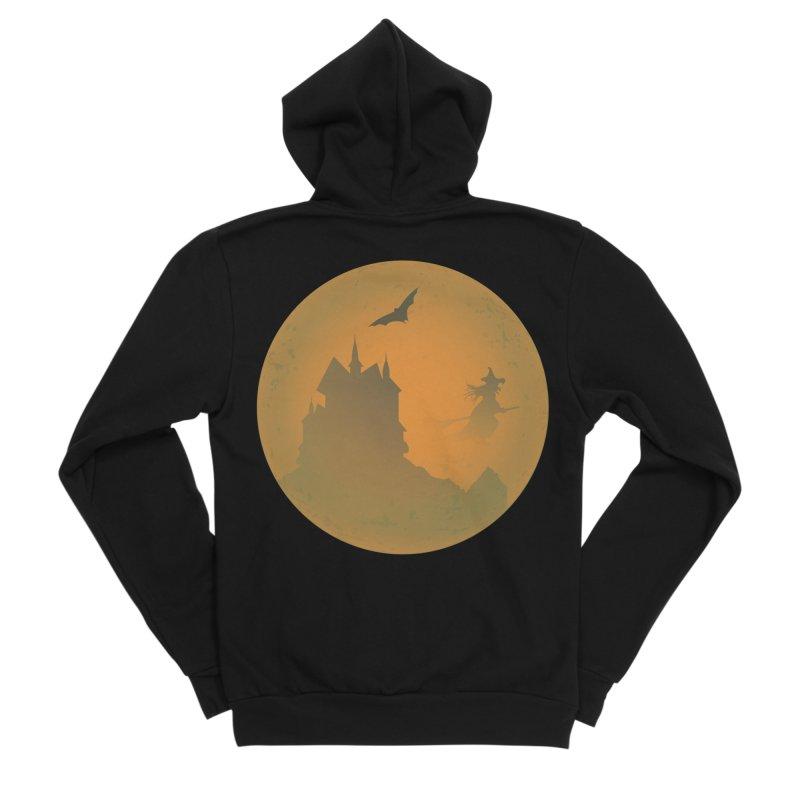 Dark Castle with flying witch, bat, in front of orange moon. Men's Sponge Fleece Zip-Up Hoody by Sporkshirts's tshirt gamer movie and design shop.