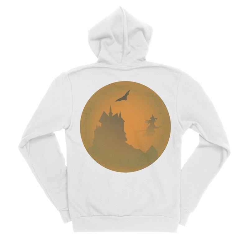 Dark Castle with flying witch, bat, in front of orange moon. Women's Sponge Fleece Zip-Up Hoody by Make a statement, laugh, enjoy.