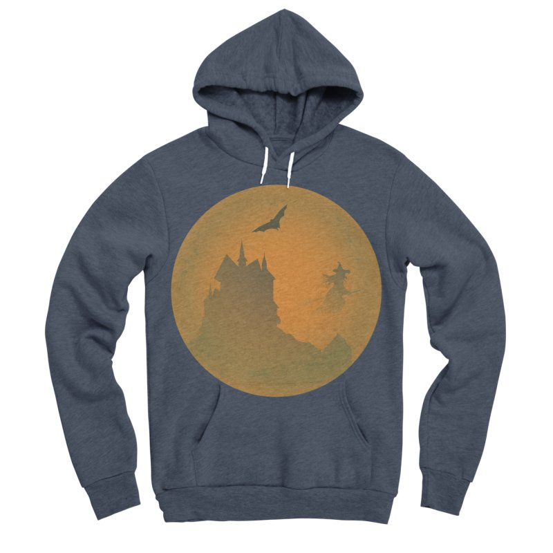 Dark Castle with flying witch, bat, in front of orange moon. Women's Sponge Fleece Pullover Hoody by Sporkshirts's tshirt gamer movie and design shop.