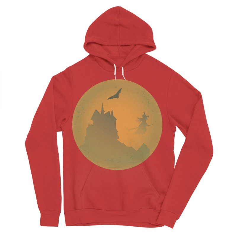 Dark Castle with flying witch, bat, in front of orange moon. Men's Sponge Fleece Pullover Hoody by Sporkshirts's tshirt gamer movie and design shop.