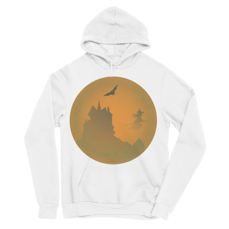 Dark Castle with flying witch, bat, in front of orange moon. Men's Sponge Fleece Pullover Hoody by Make a statement, laugh, enjoy.