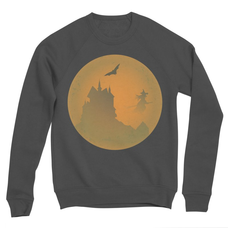 Dark Castle with flying witch, bat, in front of orange moon. Women's Sponge Fleece Sweatshirt by Sporkshirts's tshirt gamer movie and design shop.