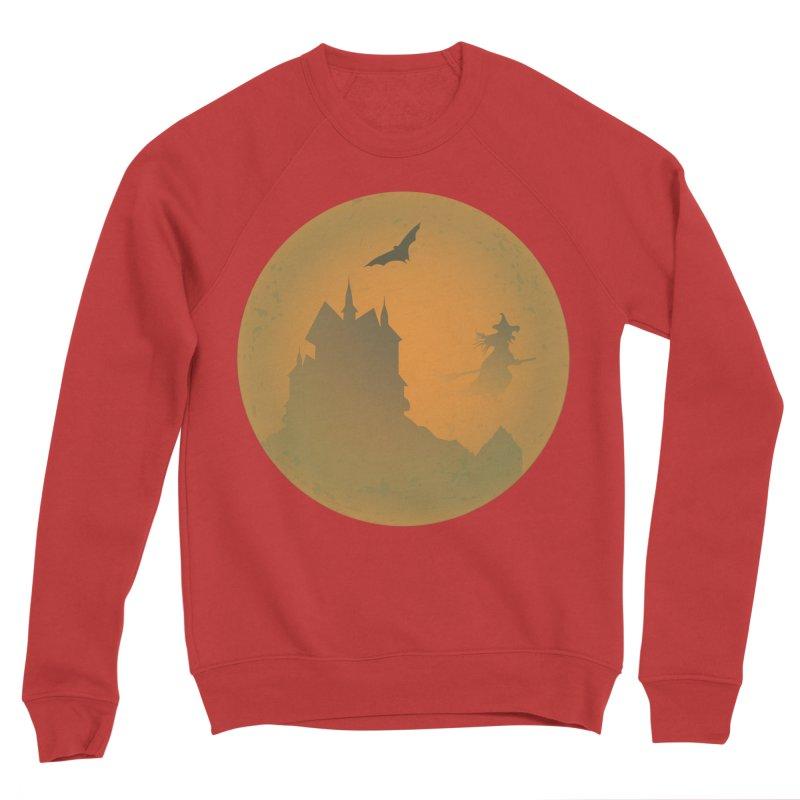 Dark Castle with flying witch, bat, in front of orange moon. Women's Sponge Fleece Sweatshirt by Make a statement, laugh, enjoy.