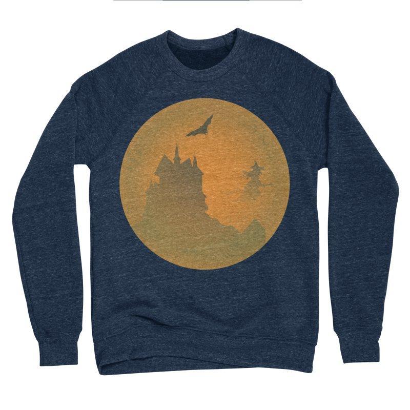 Dark Castle with flying witch, bat, in front of orange moon. Men's Sponge Fleece Sweatshirt by Make a statement, laugh, enjoy.
