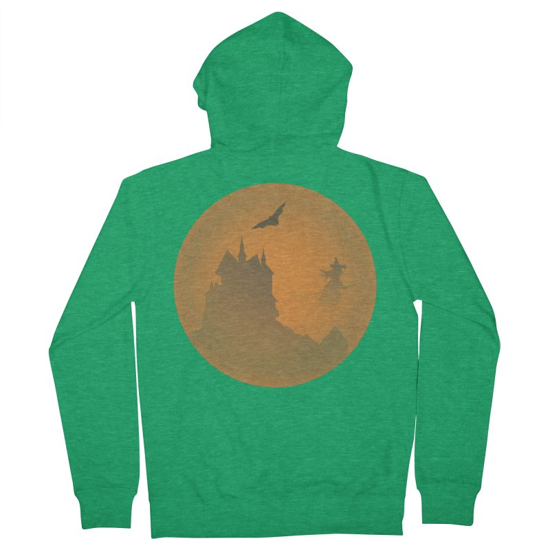 Dark Castle with flying witch, bat, in front of orange moon. Men's Zip-Up Hoody by Make a statement, laugh, enjoy.