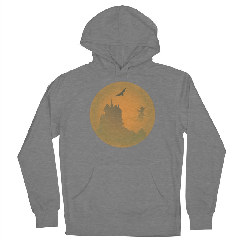 Dark Castle with flying witch, bat, in front of orange moon. Women's Pullover Hoody by Make a statement, laugh, enjoy.