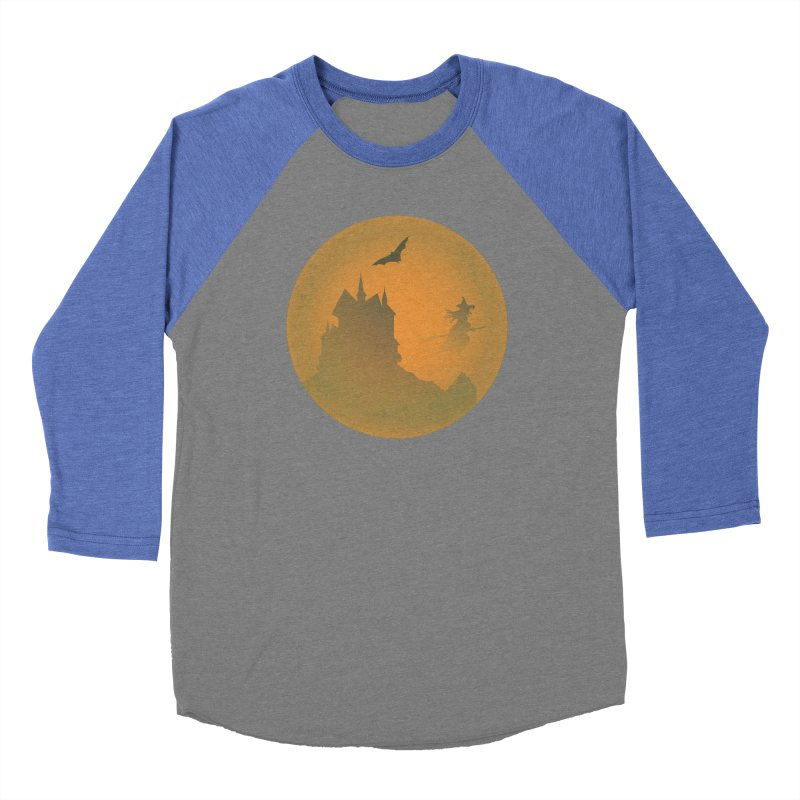 Dark Castle with flying witch, bat, in front of orange moon. Men's Baseball Triblend Longsleeve T-Shirt by Make a statement, laugh, enjoy.