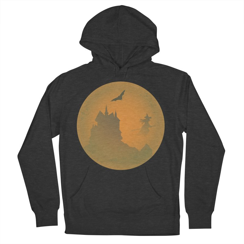 Dark Castle with flying witch, bat, in front of orange moon. Women's French Terry Pullover Hoody by Make a statement, laugh, enjoy.