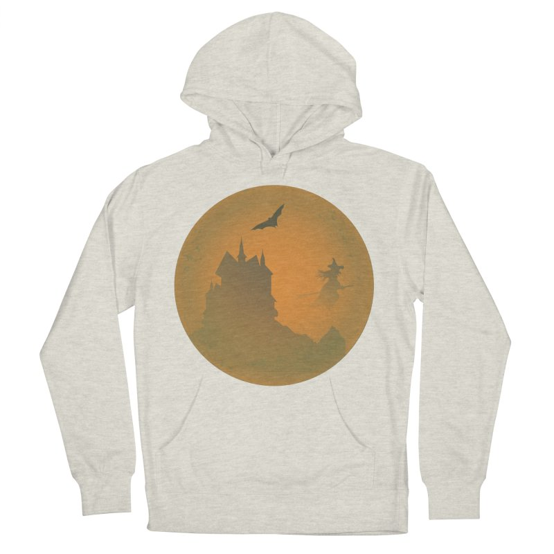 Dark Castle with flying witch, bat, in front of orange moon. Women's French Terry Pullover Hoody by Sporkshirts's tshirt gamer movie and design shop.