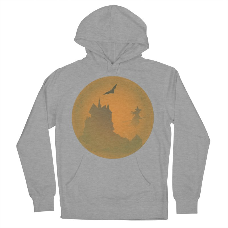 Dark Castle with flying witch, bat, in front of orange moon. Men's French Terry Pullover Hoody by Make a statement, laugh, enjoy.