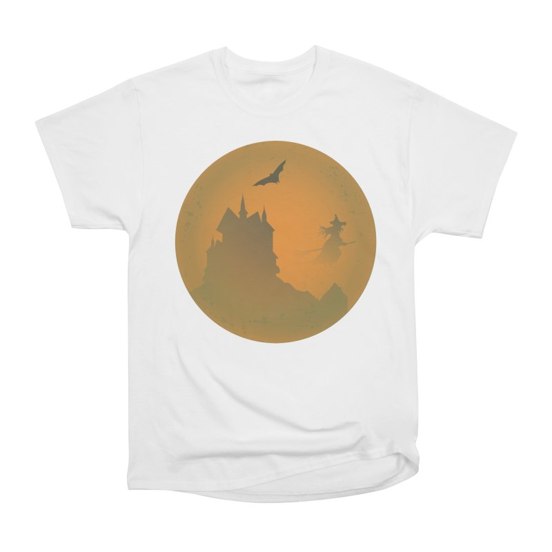 Dark Castle with flying witch, bat, in front of orange moon. Men's Heavyweight T-Shirt by Make a statement, laugh, enjoy.